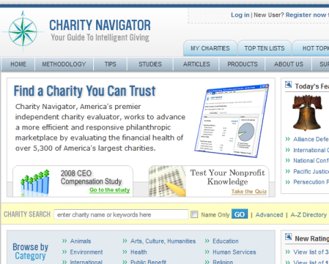 Charity Navigator - Section of Home Page