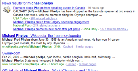 "Search results in Google for ""Michael Phelps"""