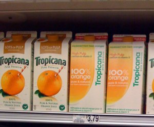 Original and now new again Tropicana packaging on the left, new but now old generic branding on the right.