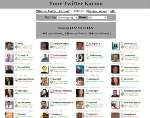 Twitter Karma is an easy way to manage your friends and followers on Twitter.
